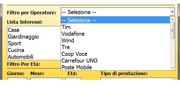 SMS con il Filtro per Operatore