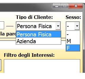 La finestra per inviare SMS con il Filtro del tipo di cliente