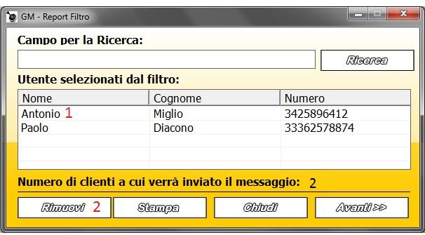 Rimuovere un Cliente dall'invio di SMS con il Filtro