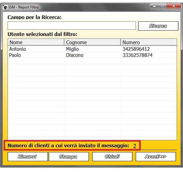 Reporto degli utenti a cui verrà inviato l'SMS con il Filtro
